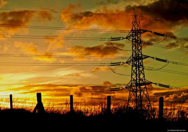 Fence posts and Pylon Sunset