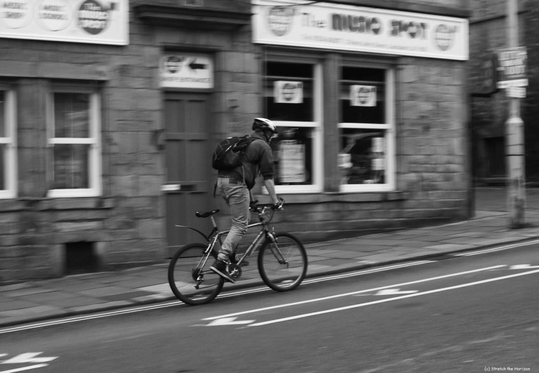 Cycling in monochrome Lancaster